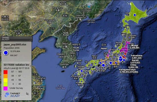 RealTime Map Of Japanese Radiation Levels Wind Patterns And - Us radiation levels map