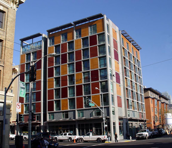 "Plaza Apartments, San Francisco's first totally ""green"" low-income housing development, and the new home of Northeast Community FCU's SOMA branch."