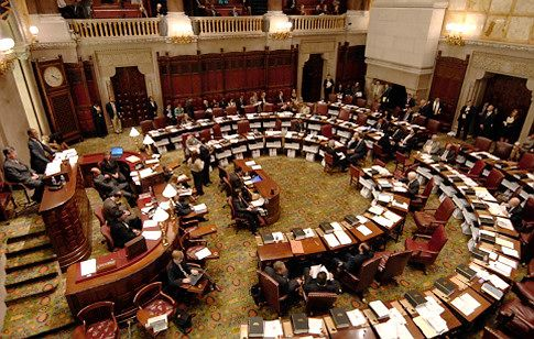 The New York State Senate in session at the Capitol in Albany, New York 9/10/2009. (Michael P. Farrell / Times Union )  Original Filename: MF_0911_SENATE_1_.jpg  IPTC record 115: Albany Times Union