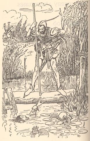 Robin Hood meeteth the tall Stranger on the Bridge