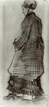 Woman with Hat, Coat and Pleated Dress