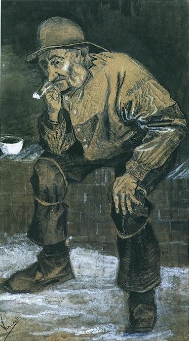 Fisherman with Sou'wester, Sitting with Pipe