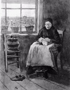 Woman at the Window, Knitting