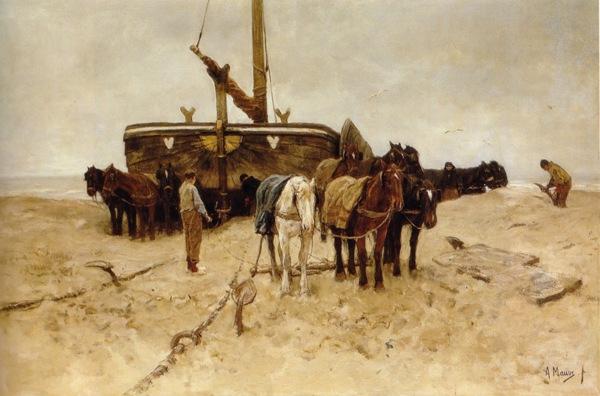 Anton Mauve - Fishing boat on the beach