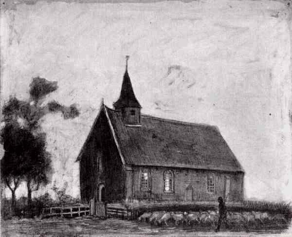 Shepherd with Flock near a Little Church at Zweeloo