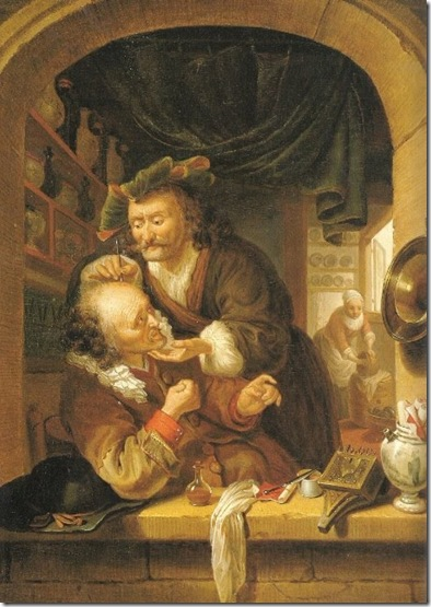 O Barbeiro-Cirurgião, quadro de Isaac Koedyck, 1647.