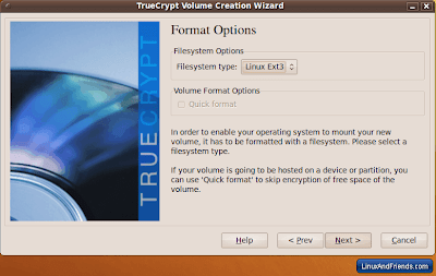 TrueCrypt Format Options