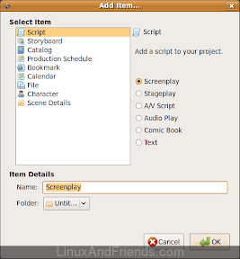 Celtx New File dialog