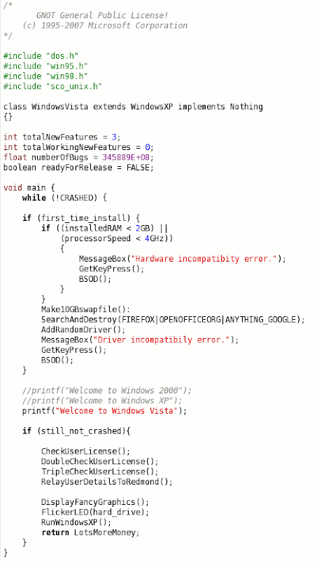 windows vista source code