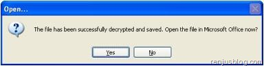 successfully recovered Microsoft file password