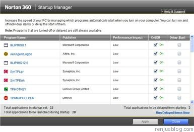 norton 360 startup manager