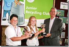 Junior Recycling Officer of the year event at Tatton Hall - l-r  Zach Homer and  Kayleigh Beecroft both aged 11 of Vine Tree Primary School, Crewe are presented with the Cheshire East Council Junior Recycling Officer of the year by Cllr. Rod Menlove