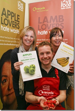 Love Food Hate Waste at the Cookery in Schools Conference at Crewe Alexandra FC  - Back l-r Aideen Smith and Lyn Cowley of Underwood West Primary school, Crewe  with Ralph Kemp Waste Strategy Manager with CEC