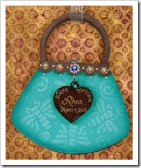 Aqua Dragonfly Sweet 16 Purse Ornament