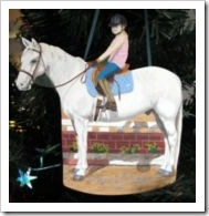 Custom wood cutout ornament - horse and rider.