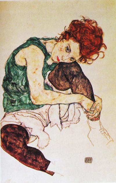 egon schiele, sitting woman 1917