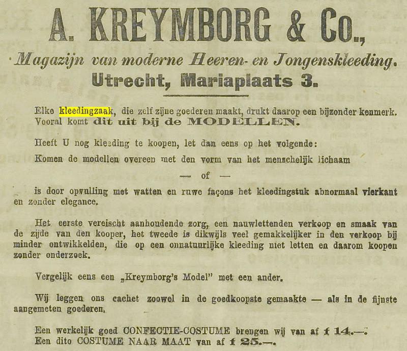 Kleedingzaak Kreymborg, Utrechts nieuwsblad 1912