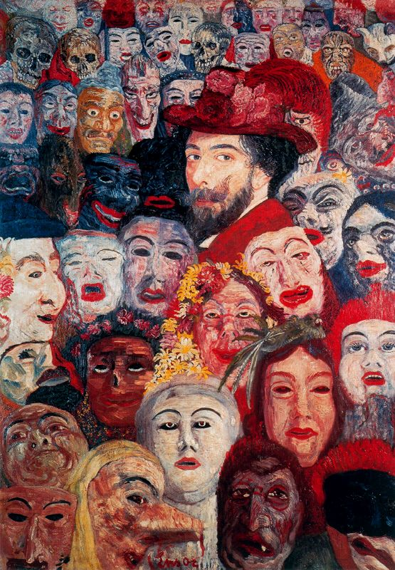 James Ensor, Self portrait with masks