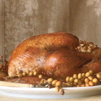 Roasted Free-Range Turkey with Pear Chestnut Stuffing