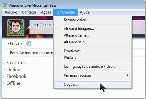 Ativar música no Messenger 2010
