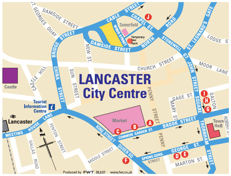 Alternative Bus Stops in Lancaster during the Bus Station closure in August 2010