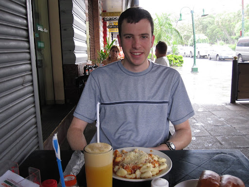 My first real meal in Paraguay: Ñoquís (gnocci) with tomato sauce and cheese and a fresh OJ on the side.