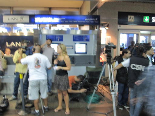 News crews at the airport!