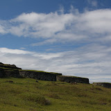The restored ceremonial village of Orongo which is on the rim of the volcano.