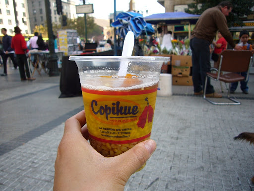 Mote con huesillo: the street drink of choice in Santiago.  Peach juice, some peach pieces and wheatberries