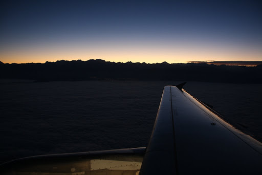 Just after takeoff from Santiago.  Sunrise over the Andes