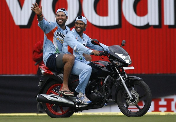 Captain Cool Dhoni in a bike with Yuvraj Singh