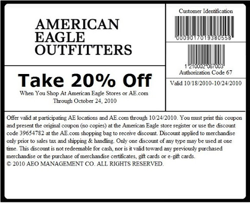 We have 18 American Eagle Outfitters coupon codes for you to choose from including 1 coupon code, and 17 sales. Most popular now: Latest Discounts - Up To 60% Off. Latest offer: % off The Entire AEO + Aerie Site!.