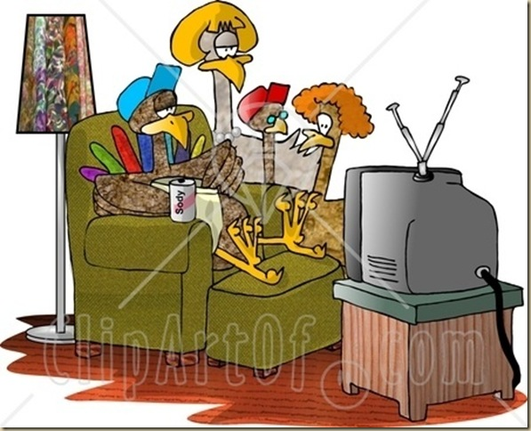 5597-Funny-Turkey-Family-Standing-And-Sitting-Around-Watching-TV-Clipart-Illustration