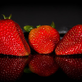Strawberries by Dale Pausinga - Food & Drink Fruits & Vegetables ( fruit, reflection, red, strawberries )