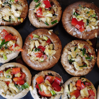 Vegetable and Garlic Stuffed Mushrooms