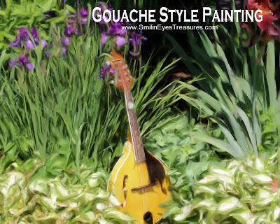 Mandolin And Irises Gouache Oil Photo Painting