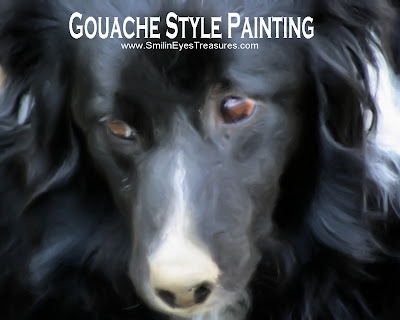 Border Collie Face Gouache Oil Photo Painting