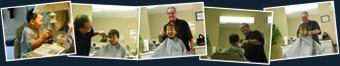 View Mr. John gives Michael a haircut