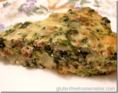 hamburger spinach quiche - slice