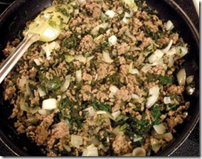 spinach casserole in skillet
