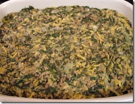 spinach casserole in dish