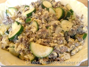 zucchini scramble in dish