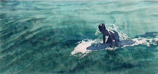 Boy Surfer-watcol on paper-5x11, 2005-A,E,I,Q