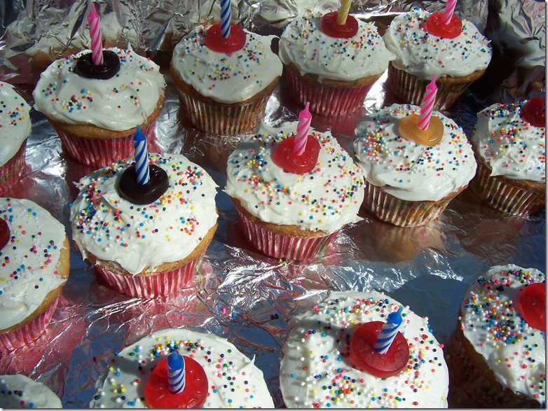 Cup cakes and mail box flowers 011