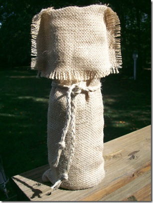 Burlap Wine Bag and mini lamp 036