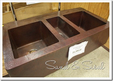 triple copper sink