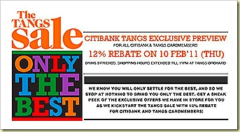 Tangs 12% Rebate Feb 2011