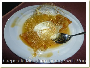 Orange crepe with vanilla ice cream with honey