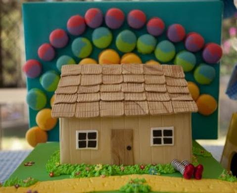 house cake and rainbow