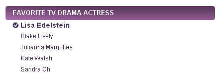 People's Choice Awards 2011 Nominees - best actriz cuddy